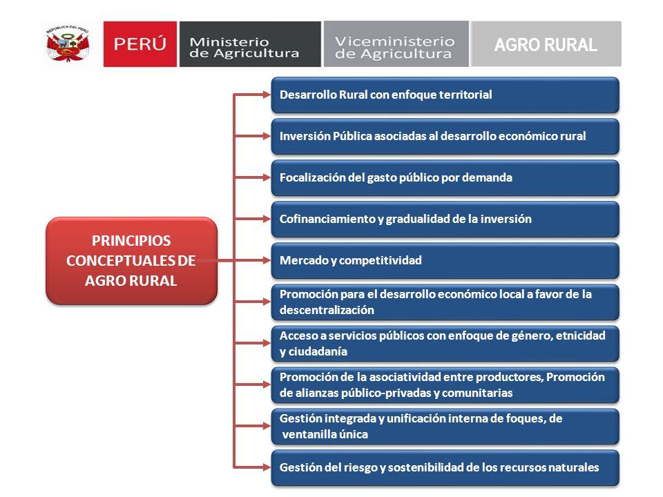 AGRO RURAL PRINCIPIOS CONCEPTUALES DE AGRO RURAL PRINCIPIOS CONCEPTUALES DE AGRO RURAL Desarrollo Rural con enfoque territorial Inversión Pública asoc