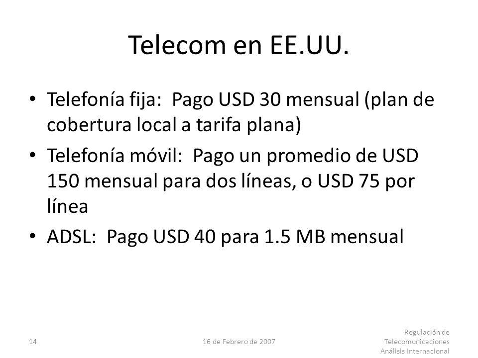 1416 de Febrero de 2007 Regulación de Telecomunicaciones Análisis Internacional Telecom en EE.UU.