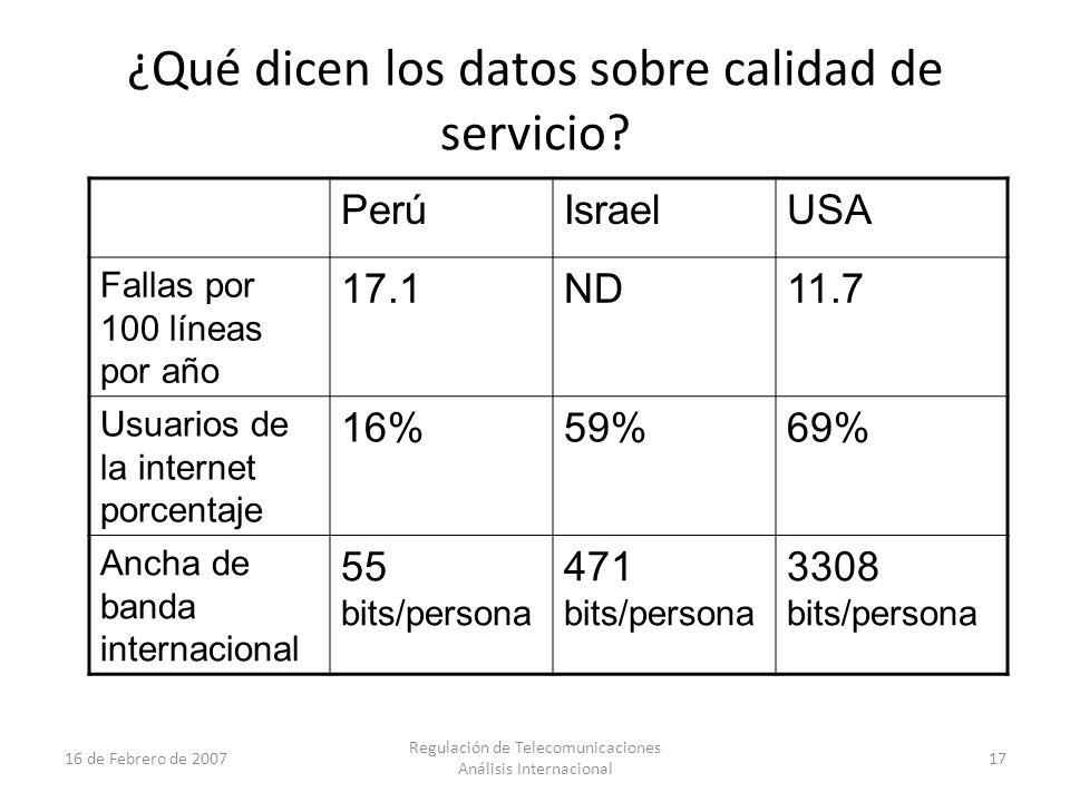 17 16 de Febrero de 2007 Regulación de Telecomunicaciones Análisis Internacional ¿Qué dicen los datos sobre calidad de servicio.