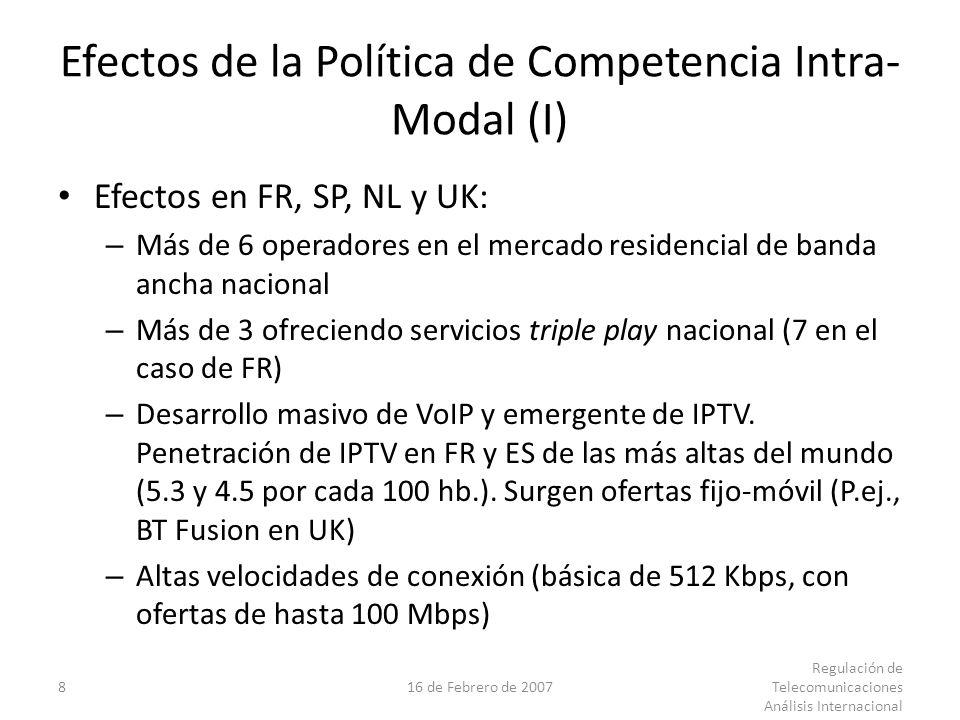 816 de Febrero de 2007 Regulación de Telecomunicaciones Análisis Internacional Efectos de la Política de Competencia Intra- Modal (I) Efectos en FR, SP, NL y UK: – Más de 6 operadores en el mercado residencial de banda ancha nacional – Más de 3 ofreciendo servicios triple play nacional (7 en el caso de FR) – Desarrollo masivo de VoIP y emergente de IPTV.