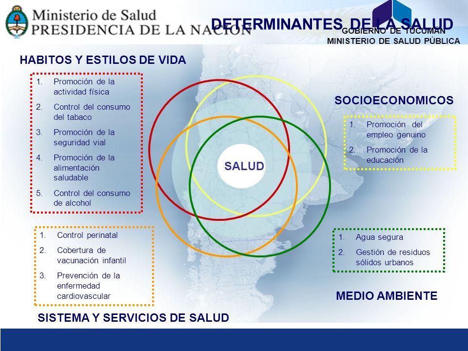 GOBIERNO DE TUCUMÁN MINISTERIO DE SALUD PÚBLICA SALUD SOCIOECONOMICOS HABITOS Y ESTILOS DE VIDA MEDIO AMBIENTE SISTEMA Y SERVICIOS DE SALUD DETERMINAN