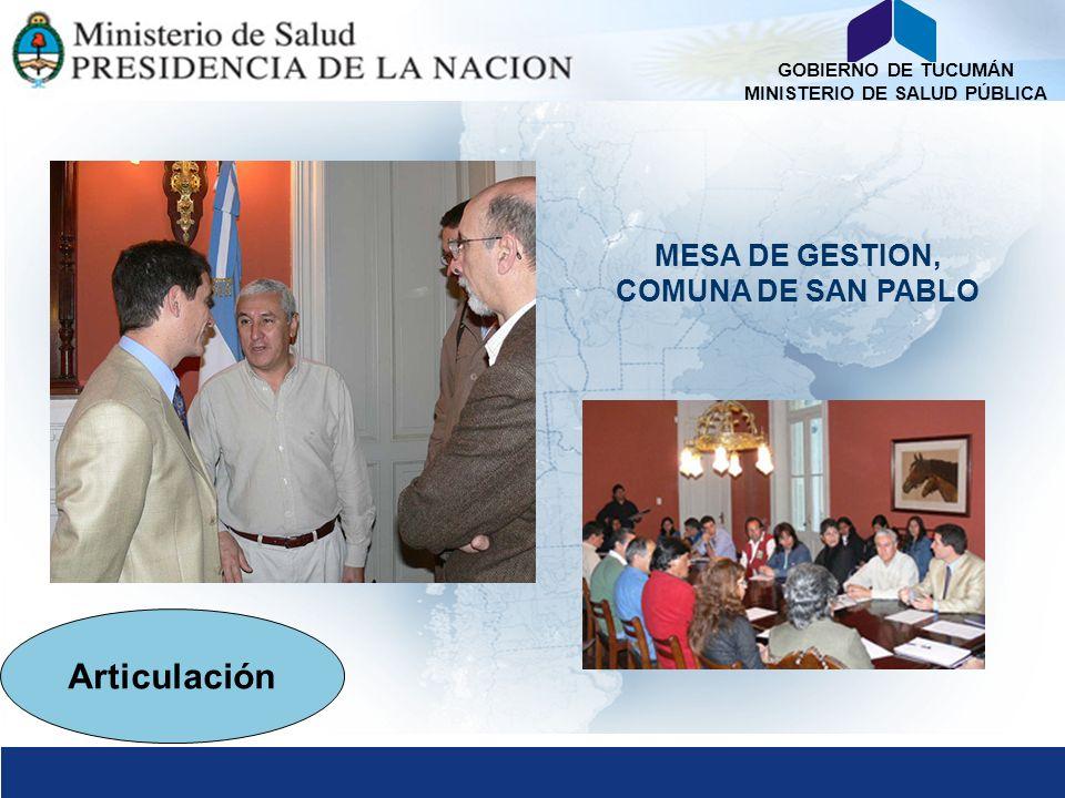 GOBIERNO DE TUCUMÁN MINISTERIO DE SALUD PÚBLICA MESA DE GESTION, COMUNA DE SAN PABLO Articulación