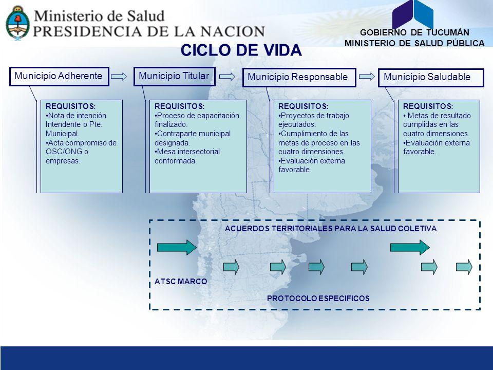 GOBIERNO DE TUCUMÁN MINISTERIO DE SALUD PÚBLICA Municipio AdherenteMunicipio Titular Municipio Responsable Municipio Saludable REQUISITOS: Nota de int