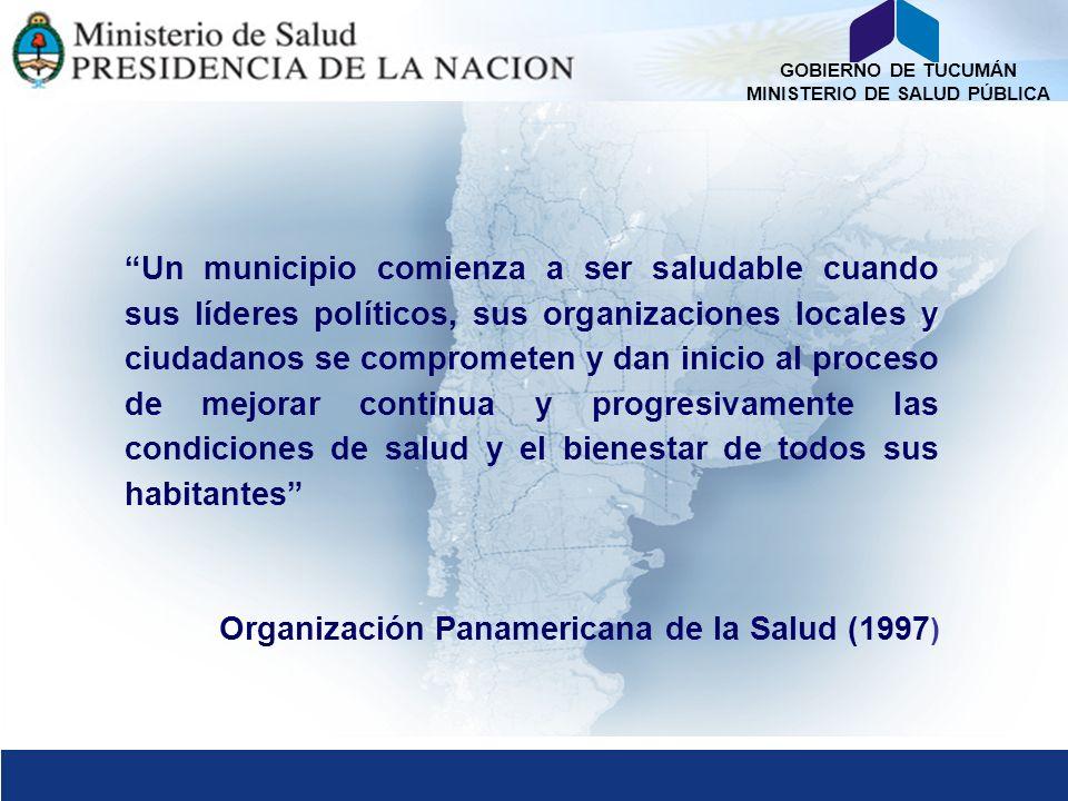 GOBIERNO DE TUCUMÁN MINISTERIO DE SALUD PÚBLICA Red Argentina de Municipios y Comunidades Saludables Proyecto FESP Ministerio de Salud Tucumán