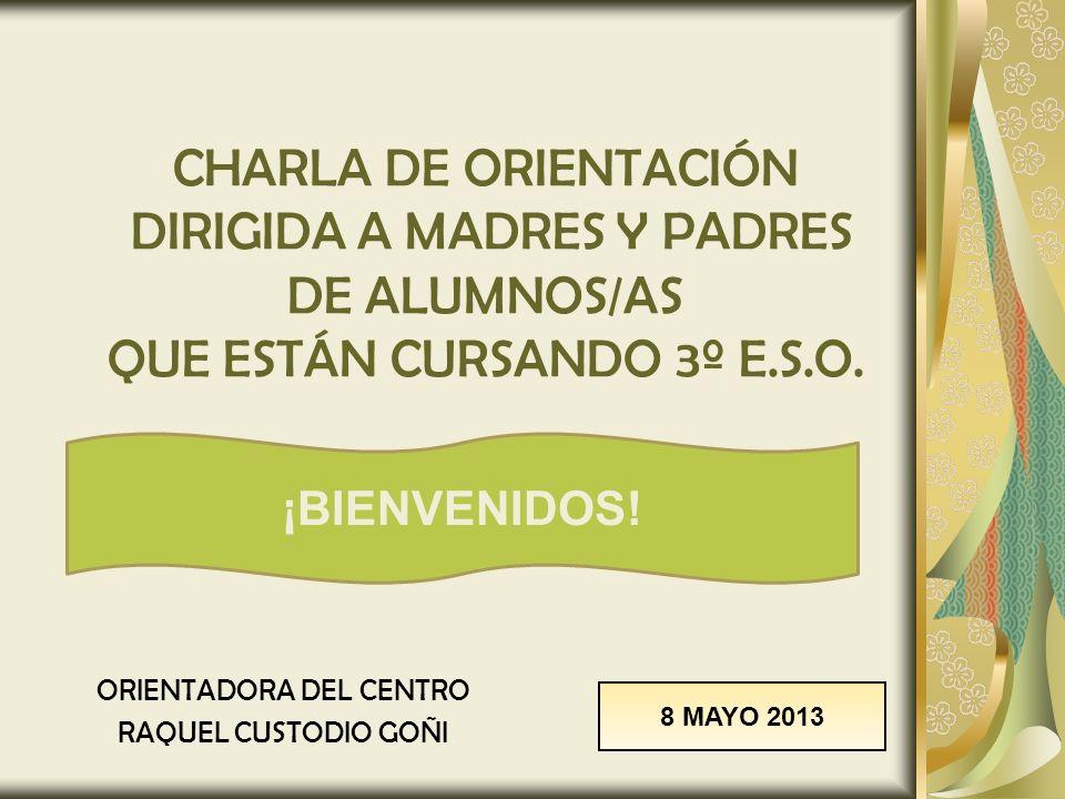 CHARLA DE ORIENTACIÓN DIRIGIDA A MADRES Y PADRES DE ALUMNOS/AS QUE ESTÁN CURSANDO 3º E.S.O. ORIENTADORA DEL CENTRO RAQUEL CUSTODIO GOÑI 8 MAYO 2013 ¡B