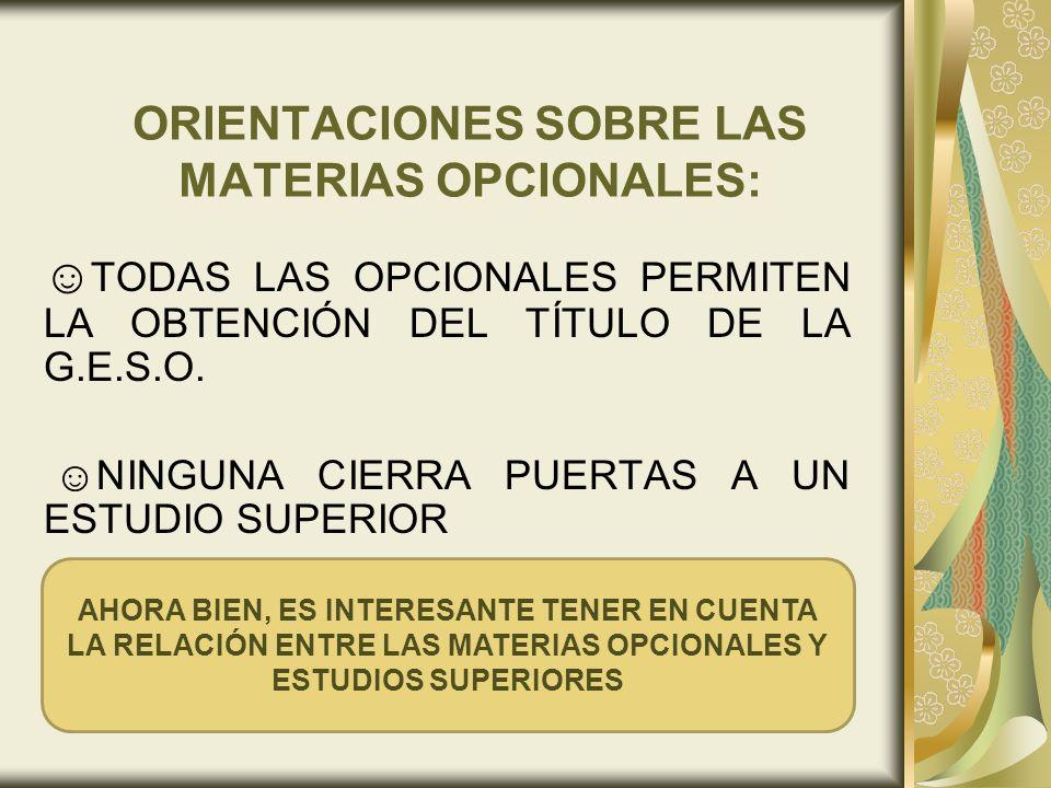 ORIENTACIONES SOBRE LAS MATERIAS OPCIONALES: TODAS LAS OPCIONALES PERMITEN LA OBTENCIÓN DEL TÍTULO DE LA G.E.S.O. NINGUNA CIERRA PUERTAS A UN ESTUDIO