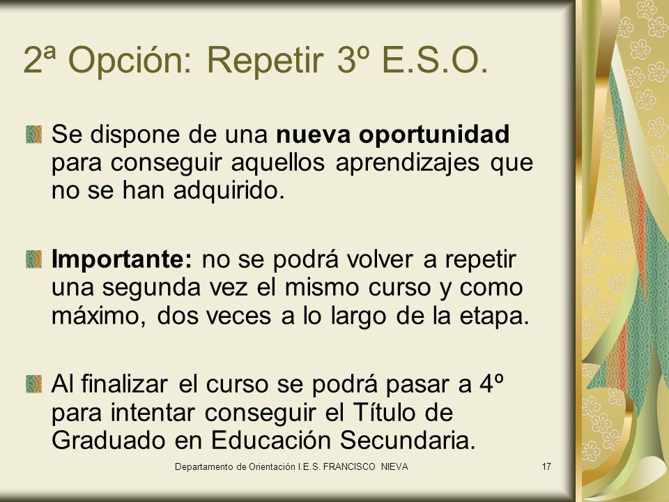 17 2ª Opción: Repetir 3º E.S.O. Se dispone de una nueva oportunidad para conseguir aquellos aprendizajes que no se han adquirido. Importante: no se po