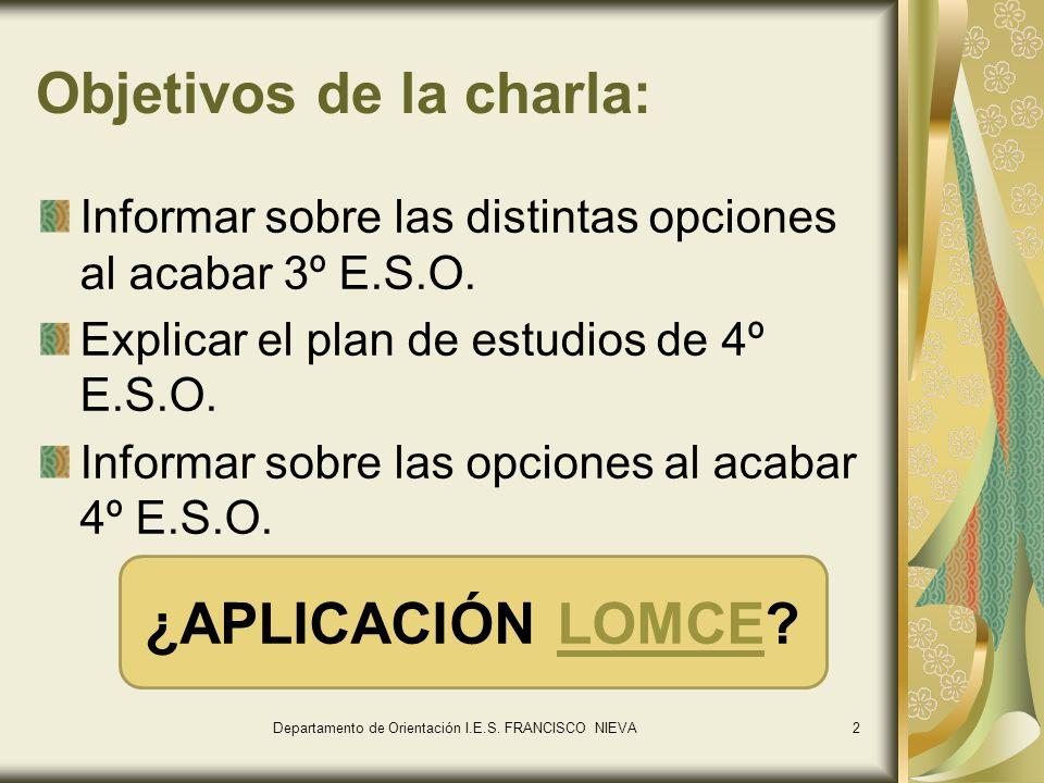 2 Objetivos de la charla: Informar sobre las distintas opciones al acabar 3º E.S.O. Explicar el plan de estudios de 4º E.S.O. Informar sobre las opcio
