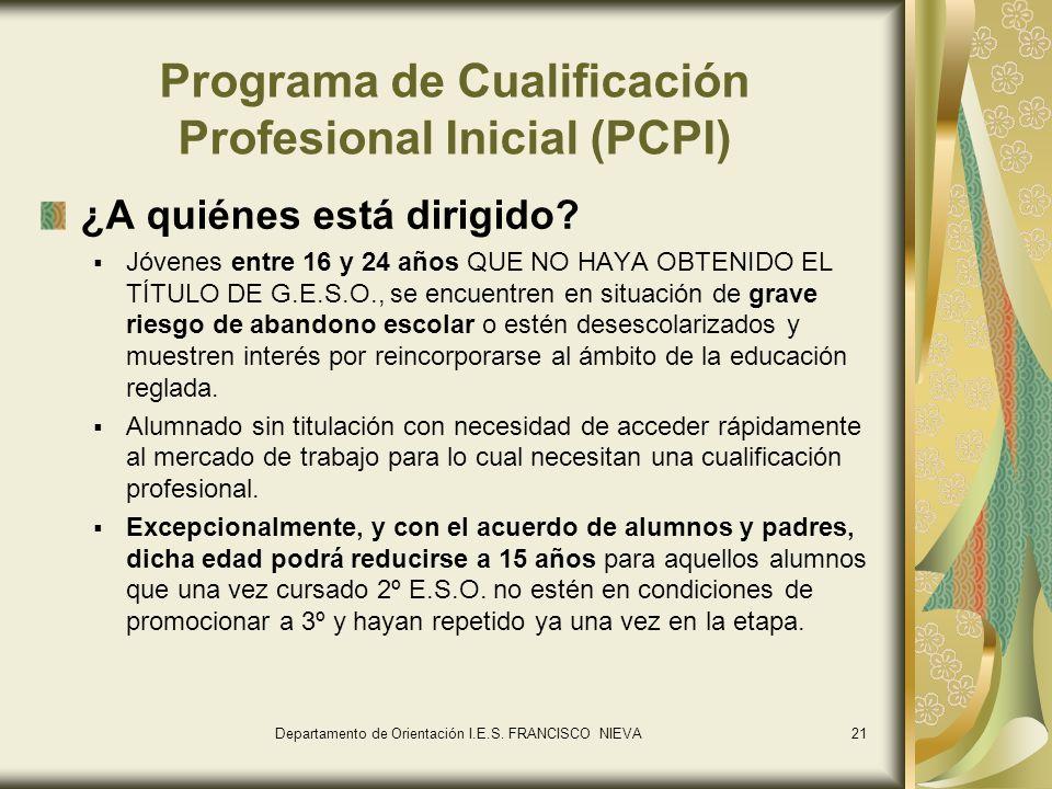 21 Programa de Cualificación Profesional Inicial (PCPI) ¿A quiénes está dirigido? Jóvenes entre 16 y 24 años QUE NO HAYA OBTENIDO EL TÍTULO DE G.E.S.O
