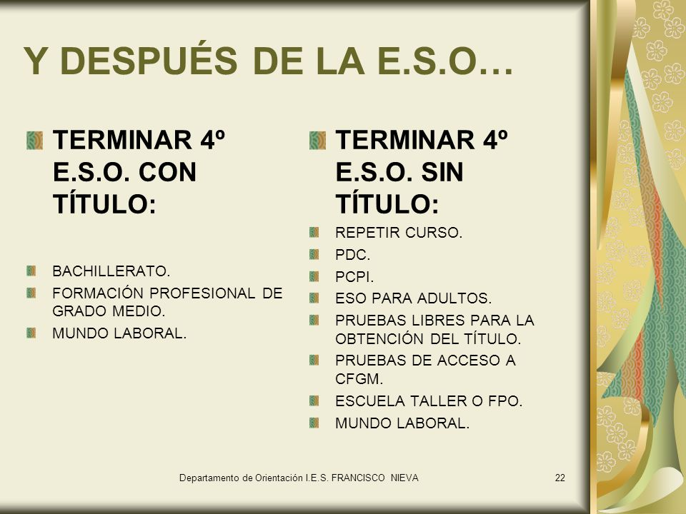 Y DESPUÉS DE LA E.S.O… TERMINAR 4º E.S.O. CON TÍTULO: BACHILLERATO. FORMACIÓN PROFESIONAL DE GRADO MEDIO. MUNDO LABORAL. TERMINAR 4º E.S.O. SIN TÍTULO