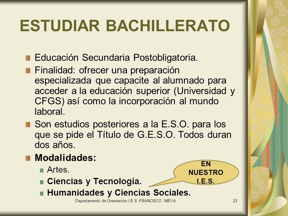 23 ESTUDIAR BACHILLERATO Educación Secundaria Postobligatoria. Finalidad: ofrecer una preparación especializada que capacite al alumnado para acceder