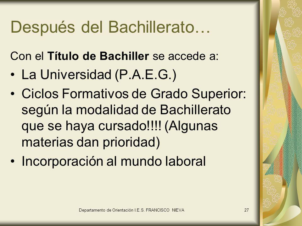 27 Después del Bachillerato… Con el Título de Bachiller se accede a: La Universidad (P.A.E.G.) Ciclos Formativos de Grado Superior: según la modalidad