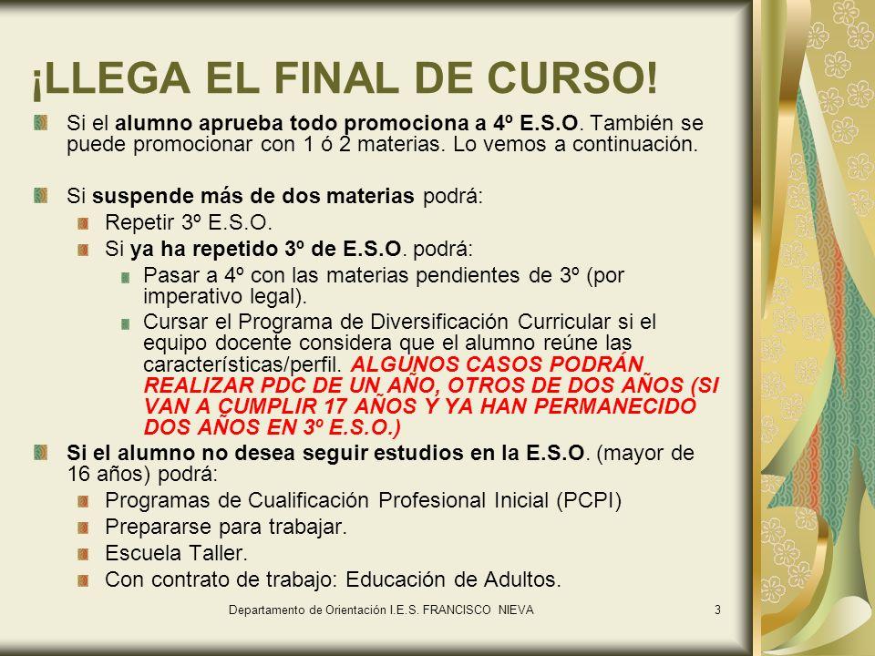 3 ¡LLEGA EL FINAL DE CURSO.Si el alumno aprueba todo promociona a 4º E.S.O.