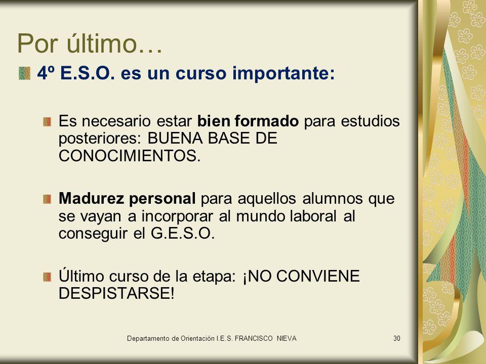30 Por último… 4º E.S.O. es un curso importante: Es necesario estar bien formado para estudios posteriores: BUENA BASE DE CONOCIMIENTOS. Madurez perso