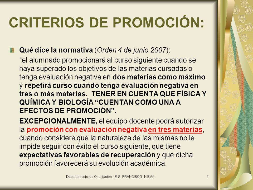 CRITERIOS DE PROMOCIÓN: Qué dice la normativa (Orden 4 de junio 2007): el alumnado promocionará al curso siguiente cuando se haya superado los objetiv