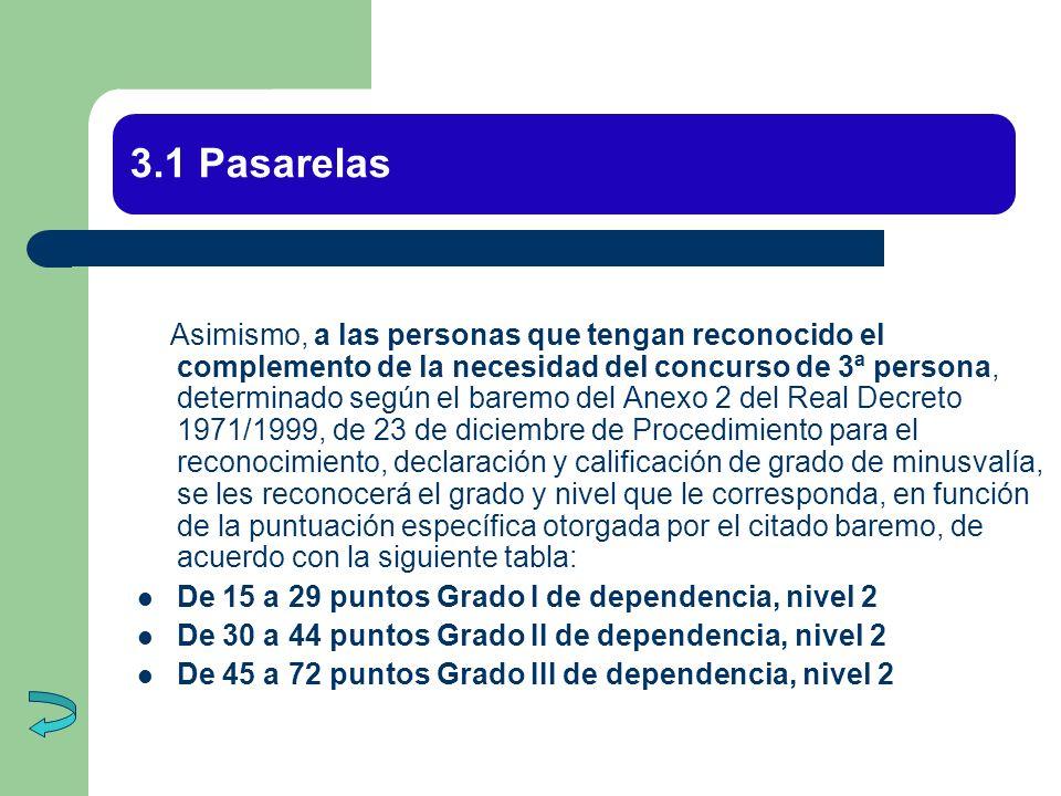 3.1 Pasarelas Asimismo, a las personas que tengan reconocido el complemento de la necesidad del concurso de 3ª persona, determinado según el baremo de