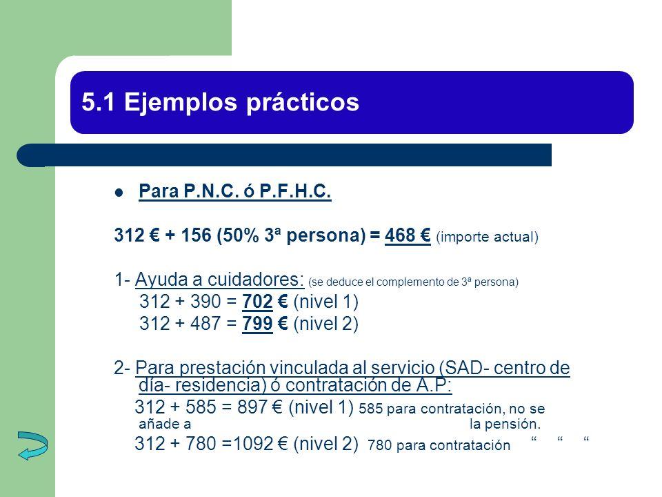 5.1 Ejemplos prácticos Para P.N.C. ó P.F.H.C. 312 + 156 (50% 3ª persona) = 468 (importe actual) 1- Ayuda a cuidadores: (se deduce el complemento de 3ª