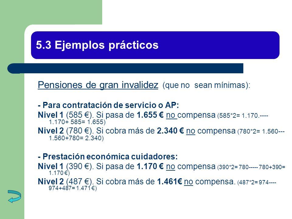 5.3 Ejemplos prácticos Pensiones de gran invalidez (que no sean mínimas): - Para contratación de servicio o AP: Nivel 1 (585 ). Si pasa de 1.655 no co