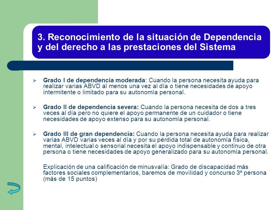 3. Reconocimiento de la situación de Dependencia y del derecho a las prestaciones del Sistema Grado I de dependencia moderada: Cuando la persona neces