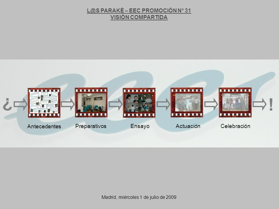 L@S PARAKÉ – EEC PROMOCIÓN Nº 31 VISIÓN COMPARTIDA Antecedentes PreparativosEnsayoActuaciónCelebración ¿ .