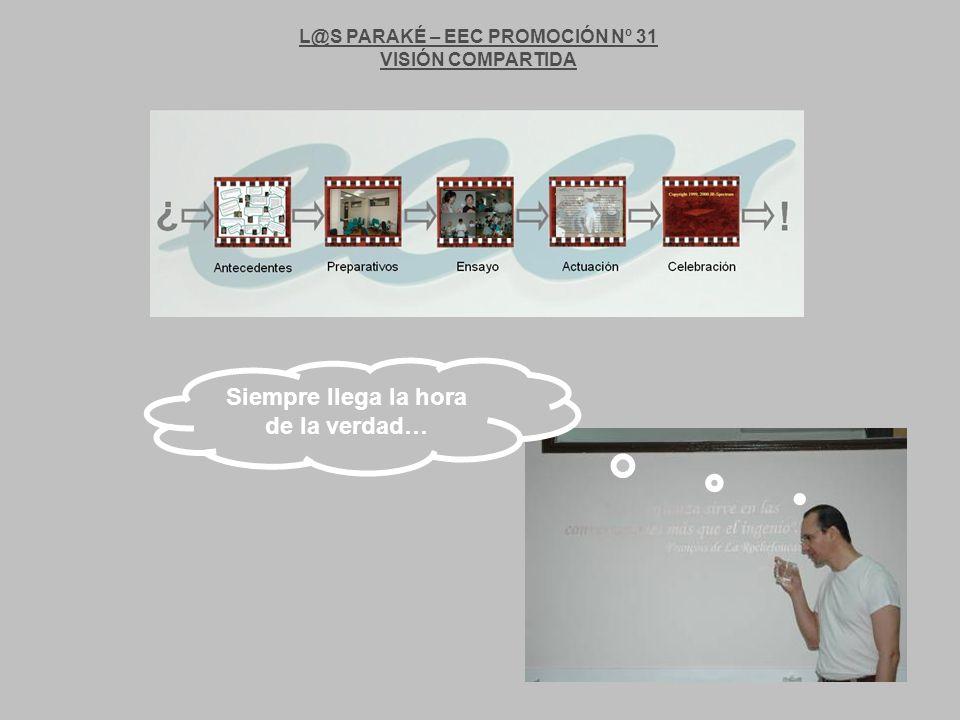 L@S PARAKÉ – EEC PROMOCIÓN Nº 31 VISIÓN COMPARTIDA Siempre llega la hora de la verdad…