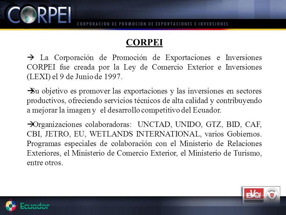 CORPEI La Corporación de Promoción de Exportaciones e Inversiones CORPEI fue creada por la Ley de Comercio Exterior e Inversiones (LEXI) el 9 de Junio