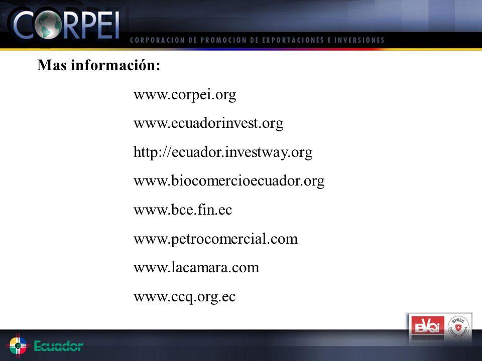 Mas información: www.corpei.org www.ecuadorinvest.org http://ecuador.investway.org www.biocomercioecuador.org www.bce.fin.ec www.petrocomercial.com ww