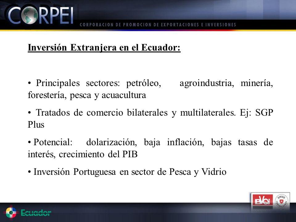 Inversión Extranjera en el Ecuador: Principales sectores: petróleo, agroindustria, minería, forestería, pesca y acuacultura Tratados de comercio bilat