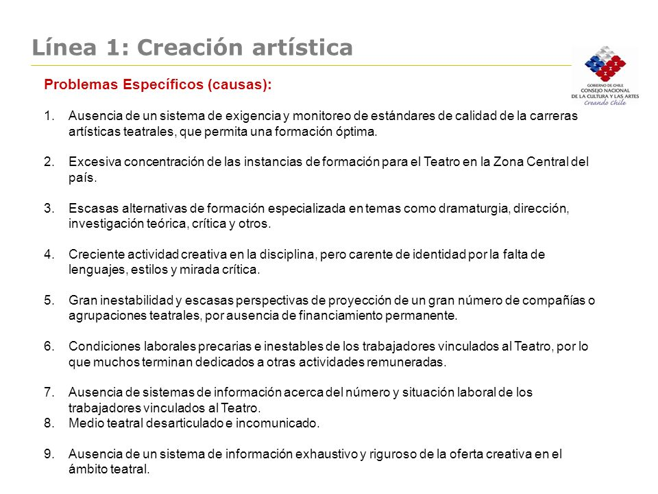 Línea 1: Creación artística Problemas Específicos (causas): 1.Ausencia de un sistema de exigencia y monitoreo de estándares de calidad de la carreras