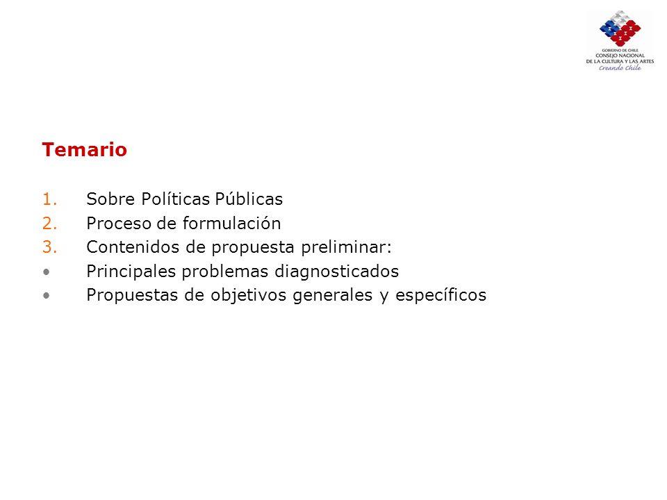 Temario 1.Sobre Políticas Públicas 2.Proceso de formulación 3.Contenidos de propuesta preliminar: Principales problemas diagnosticados Propuestas de o