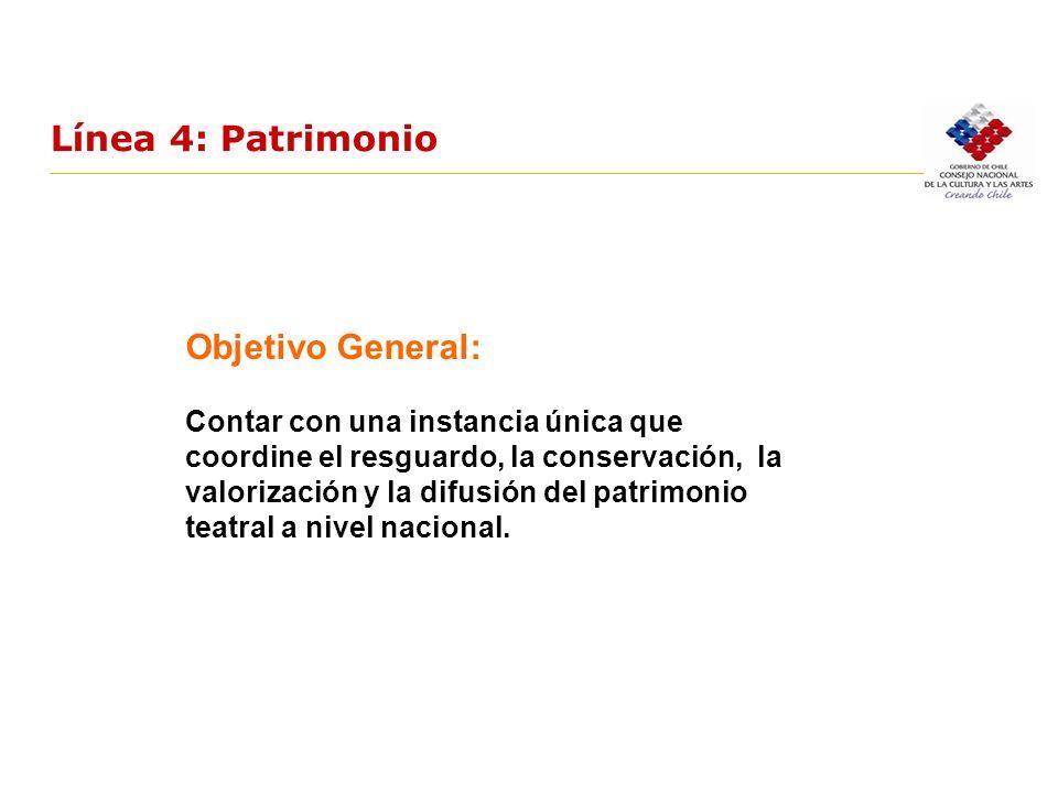 Línea 4: Patrimonio Objetivo General: Contar con una instancia única que coordine el resguardo, la conservación, la valorización y la difusión del pat