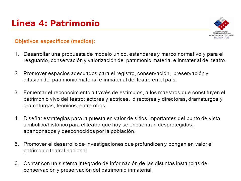 Línea 4: Patrimonio Objetivos específicos (medios): 1.Desarrollar una propuesta de modelo único, estándares y marco normativo y para el resguardo, con