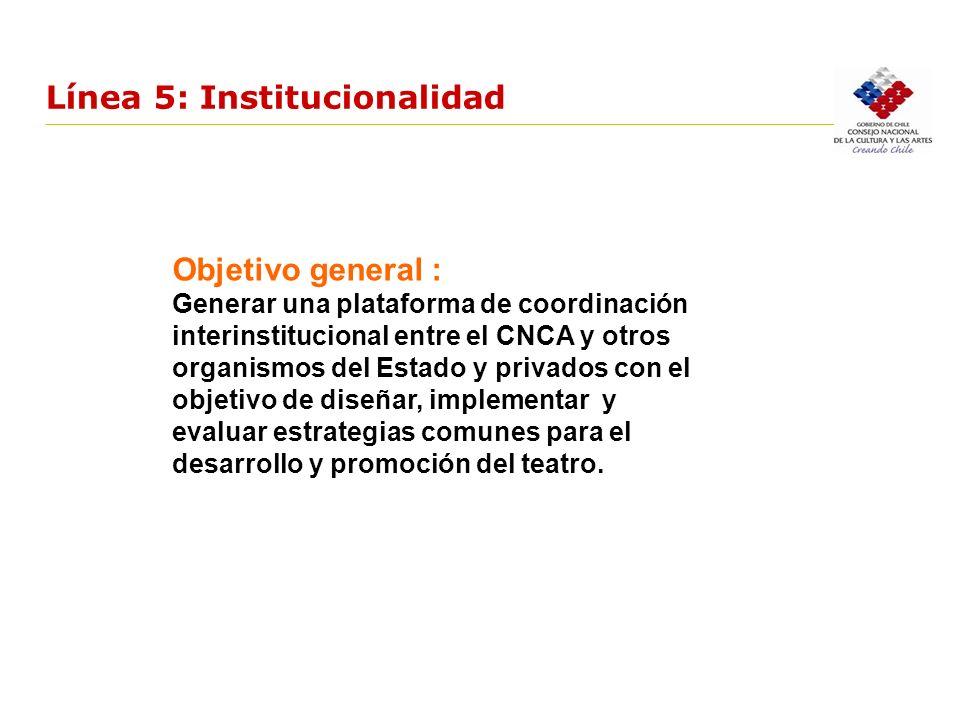 Línea 5: Institucionalidad Objetivo general : Generar una plataforma de coordinación interinstitucional entre el CNCA y otros organismos del Estado y