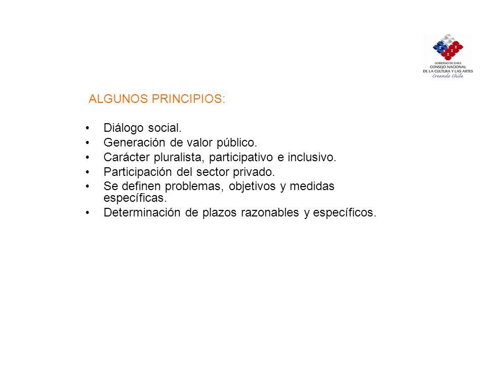 POLÍTICA CULTURAL: La orientación que asegure y garantice a través de los mecanismos de que dispone el Estado y su institucionalidad cultural, el desarrollo cultural del país donde sus habitantes tengan acceso a la participación y disfrute de los bienes y manifestaciones artísticas, culturales y del patrimonio nacional como parte de su desarrollo humano con los principios y valores éticos y políticos que inspiran al Estado[1].[1] [ 1][ 1] CNCA, Chile quiere m á s cultura.