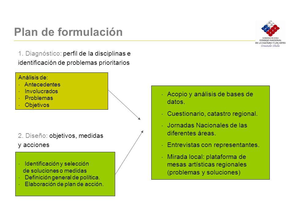 Plan de formulación 1. Diagnóstico: perfil de la disciplinas e identificación de problemas prioritarios 2. Diseño: objetivos, medidas y acciones Análi