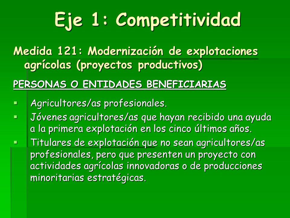 Ejes prioritarios de actuación del Programa LEADER del Oriente de Asturias: Eje 1. Competitividad de explotaciones agrícolas Eje 1. Competitividad de