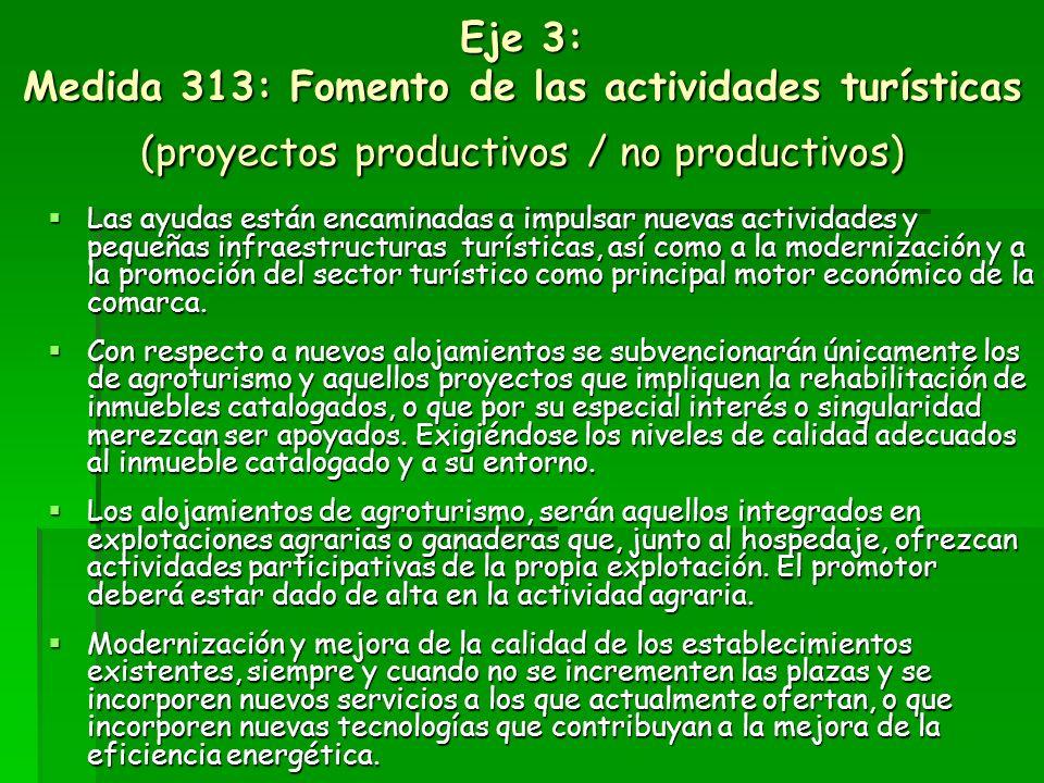 Eje 3: 312: Creación y el desarrollo de microempresas (proyectos productivos) Ayudas hasta el 50% de la inversión auxiliable, que serán todas aquellas