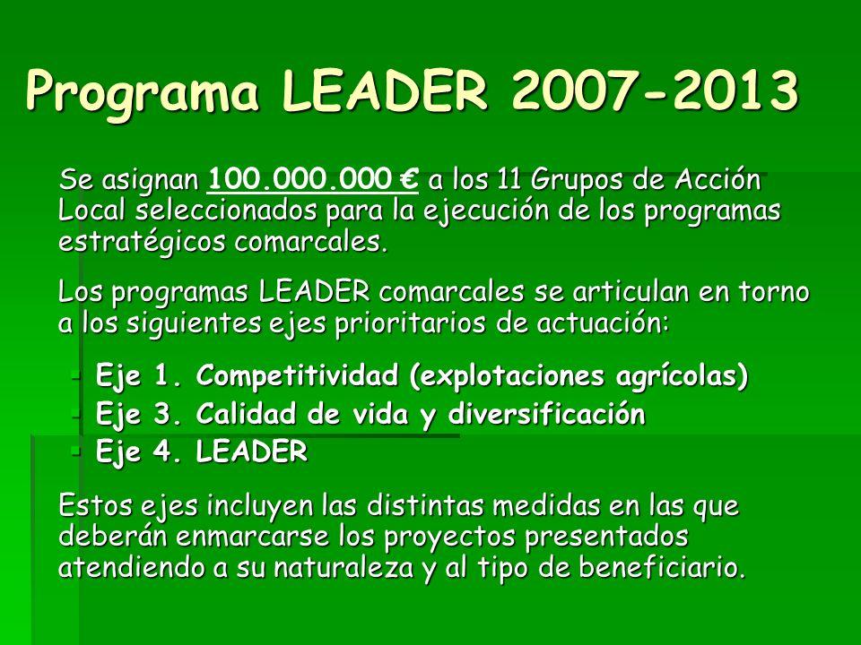 Programa LEADER 2007-2013 Se asignan a los 11 Grupos de Acción Local seleccionados para la ejecución de los programas estratégicos comarcales.