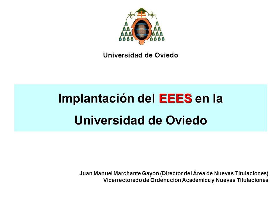 Implantación del EEES en la Universidad de Oviedo Juan Manuel Marchante Gayón (Director del Área de Nuevas Titulaciones) Vicerrectorado de Ordenación