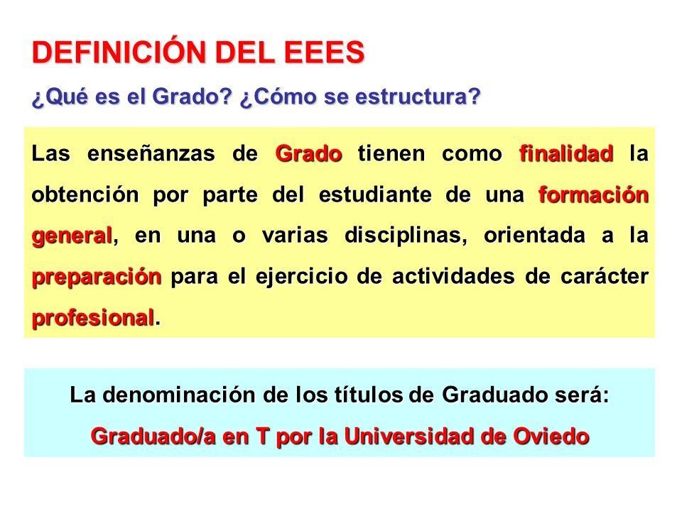 DEFINICIÓN DEL EEES Las enseñanzas de Grado tienen como finalidad la obtención por parte del estudiante de una formación general, en una o varias disc
