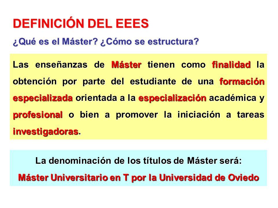 DEFINICIÓN DEL EEES Las enseñanzas de Máster tienen como finalidad la obtención por parte del estudiante de una formación especializada orientada a la