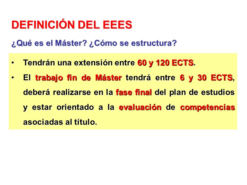 Tendrán una extensión entre 60 y 120 ECTS.Tendrán una extensión entre 60 y 120 ECTS. El trabajo fin de Máster tendrá entre 6 y 30 ECTS, deberá realiza