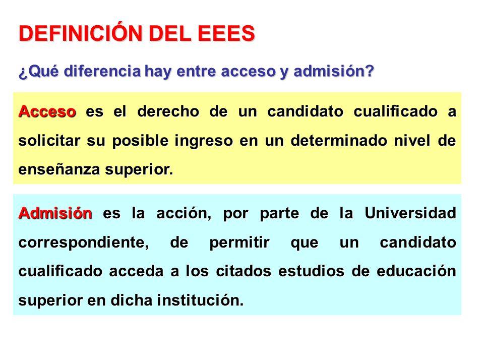 Acceso es el derecho de un candidato cualificado a solicitar su posible ingreso en un determinado nivel de enseñanza superior. Admisión es la acción,