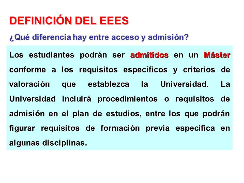 Los estudiantes podrán ser admitidos en un Máster conforme a los requisitos específicos y criterios de valoración que establezca la Universidad. La Un
