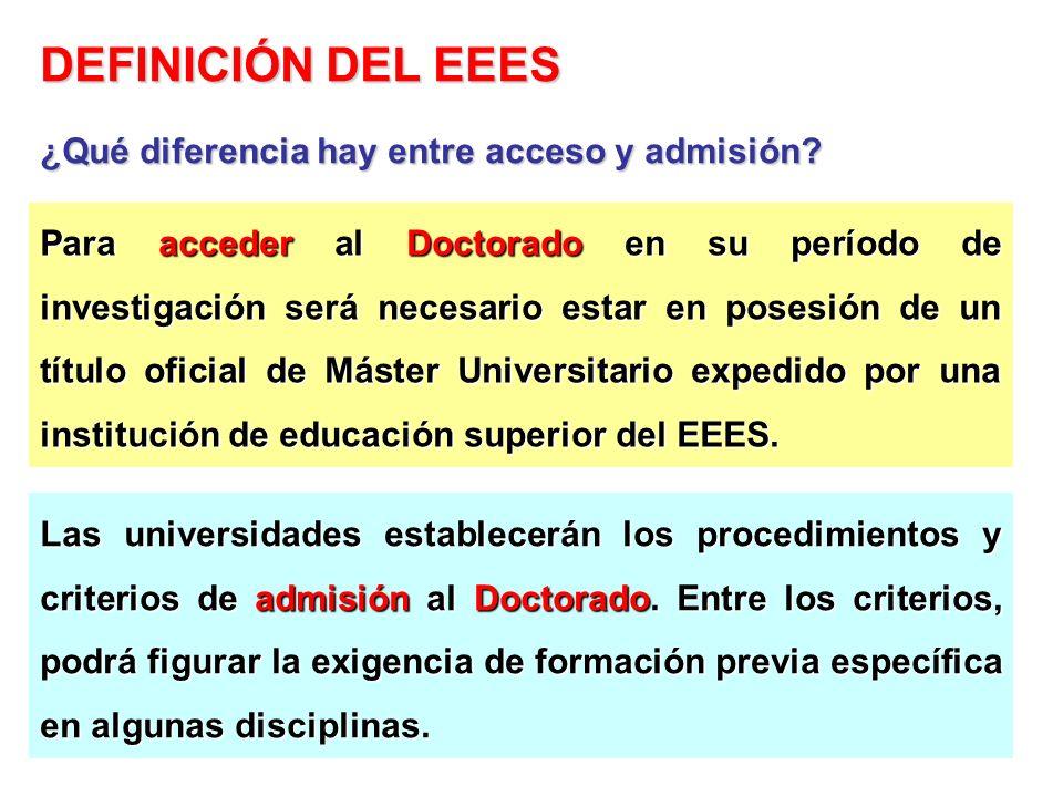 Para acceder al Doctorado en su período de investigación será necesario estar en posesión de un título oficial de Máster Universitario expedido por un