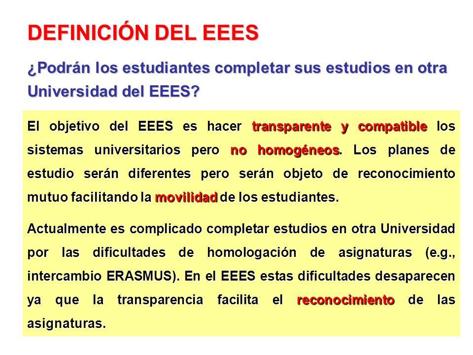 El objetivo del EEES es hacer transparente y compatible los sistemas universitarios pero no homogéneos. Los planes de estudio serán diferentes pero se