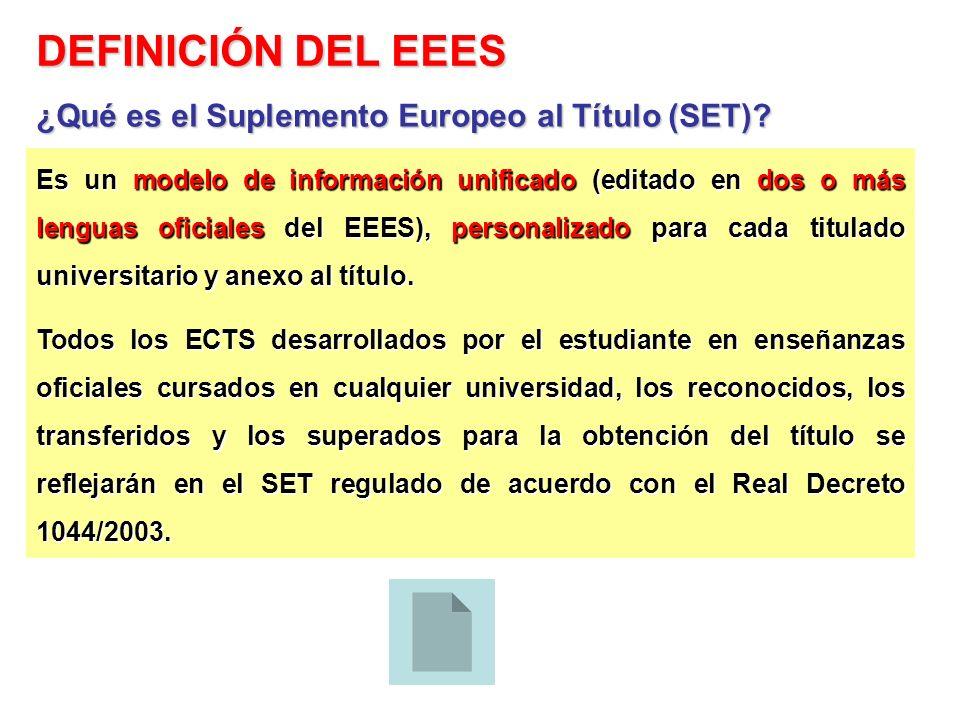 Es un modelo de información unificado (editado en dos o más lenguas oficiales del EEES), personalizado para cada titulado universitario y anexo al tít