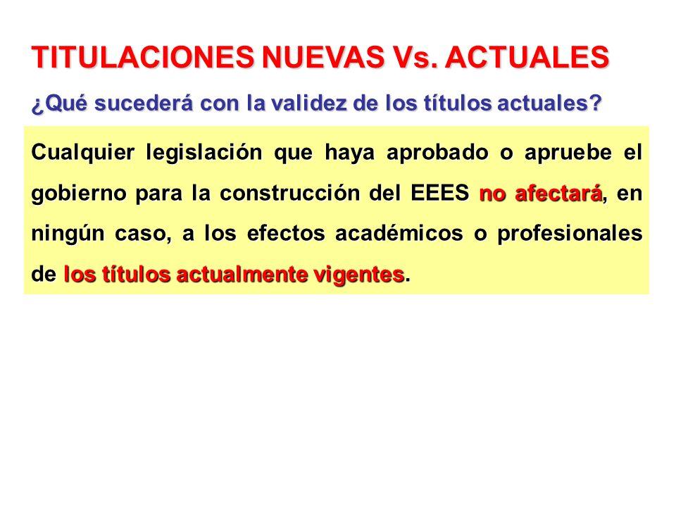 Cualquier legislación que haya aprobado o apruebe el gobierno para la construcción del EEES no afectará, en ningún caso, a los efectos académicos o pr