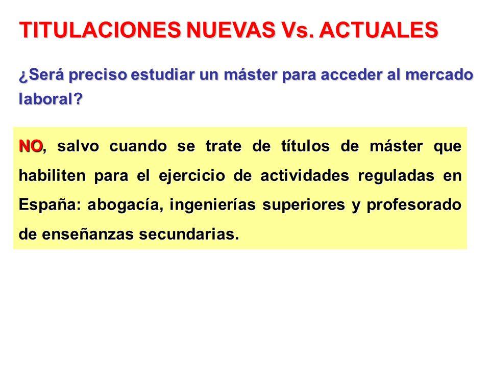 NO, salvo cuando se trate de títulos de máster que habiliten para el ejercicio de actividades reguladas en España: abogacía, ingenierías superiores y