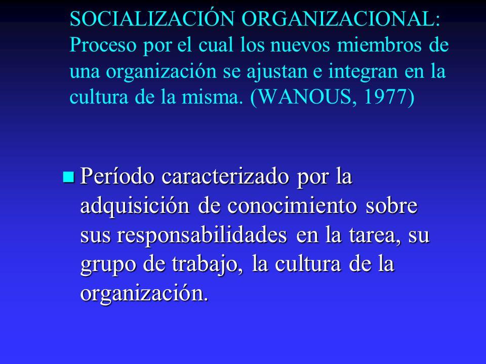 SOCIALIZACIÓN ORGANIZACIONAL: Proceso por el cual los nuevos miembros de una organización se ajustan e integran en la cultura de la misma. (WANOUS, 19